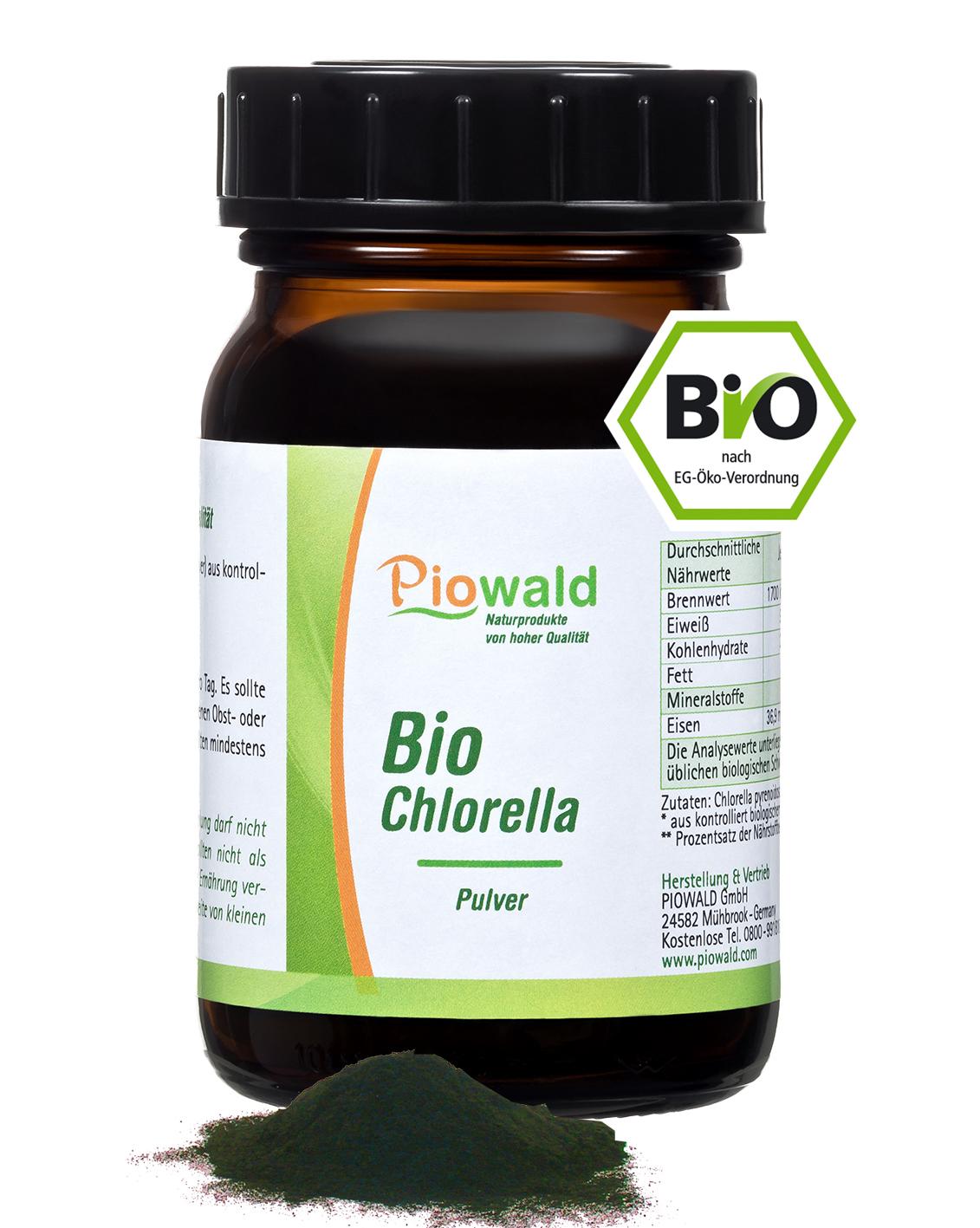 bio chlorella pulver 100g im braunglas piowald gmbh. Black Bedroom Furniture Sets. Home Design Ideas
